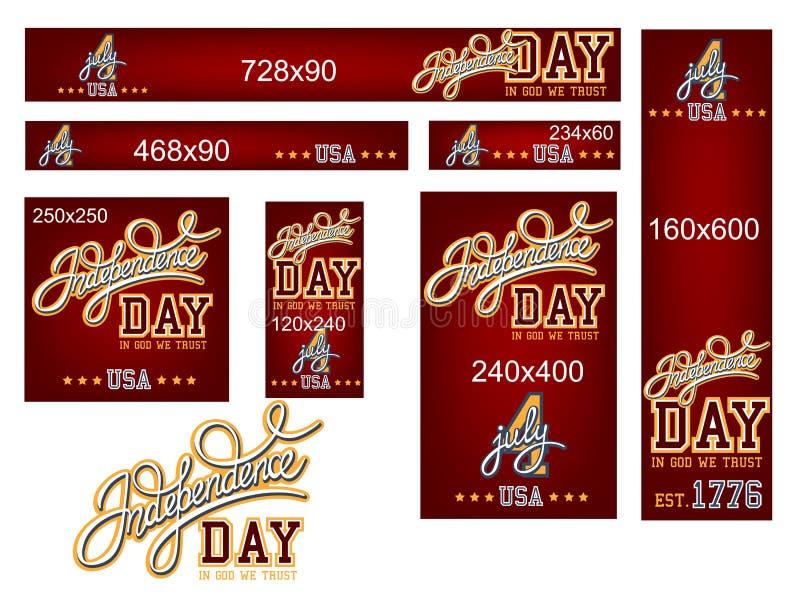 Independence Day Banner Set royalty free illustration