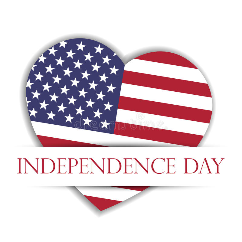 Independence Day Card. US flag in a shape of heart in the paper pocket with label Independence Day. USA 4th of July stock illustration