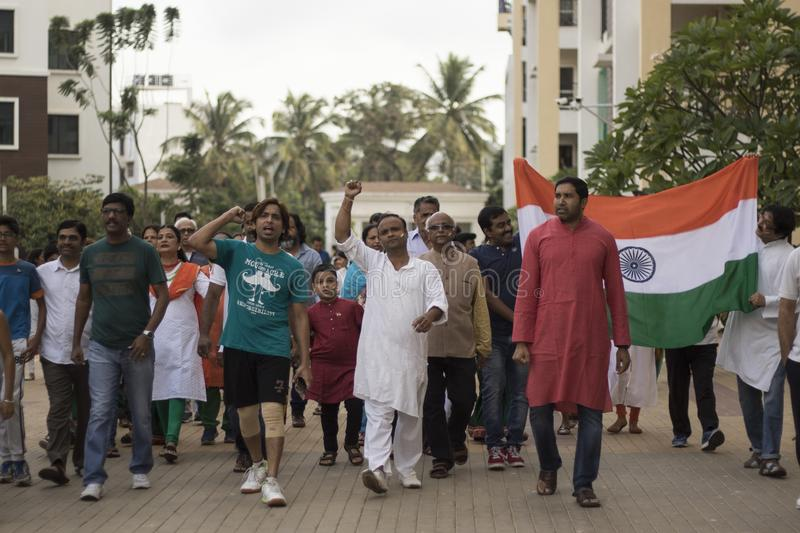 A group of citizens celebrating Indian independence day. Independence Day celebration stock images