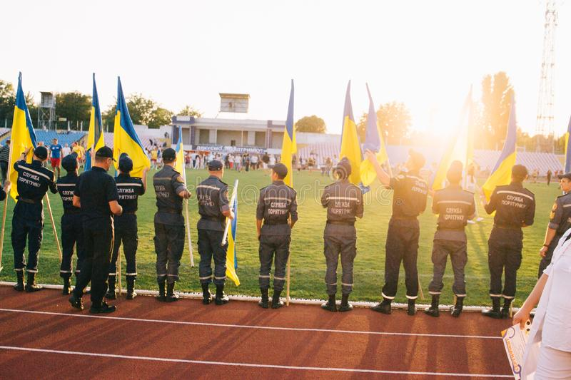Independence Day celebrations at the stadium in the city of Cherkasy August 24, 2018 stock image