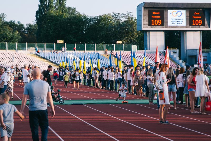Independence Day celebrations at the stadium in the city of Cherkasy August 24, 2018 stock photos