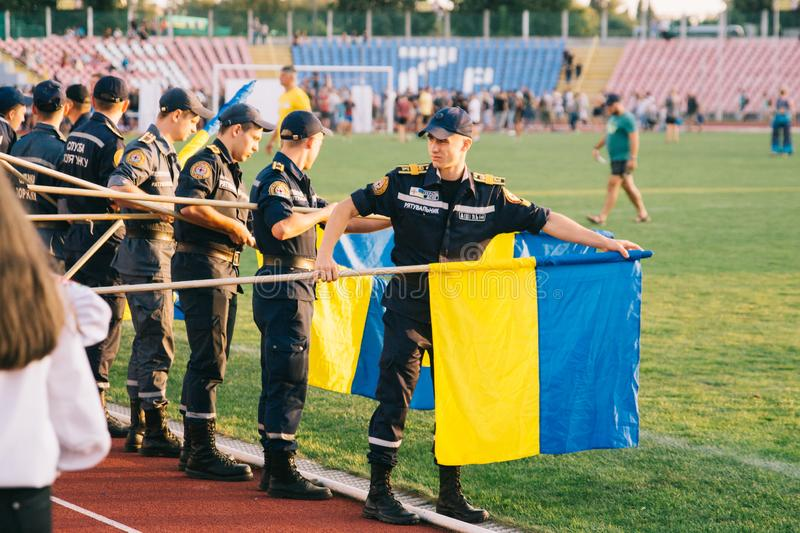 Independence Day celebrations at the stadium in the city of Cherkasy August 24, 2018 stock photo