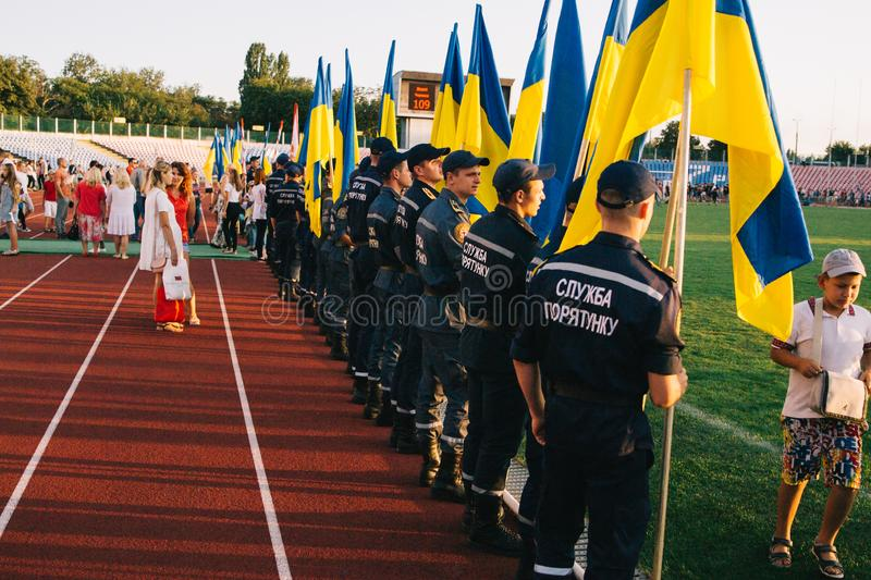 Independence Day celebrations at the stadium in the city of Cherkasy August 24, 2018 royalty free stock image