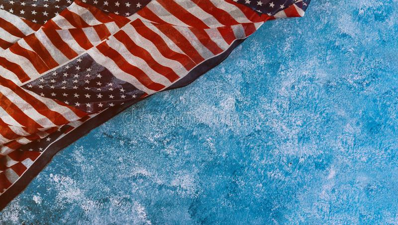 Closeup of ruffled American flag Independence day for Memorial Day. Independence day closeup of flag of the United States of America for Memorial Day royalty free stock image