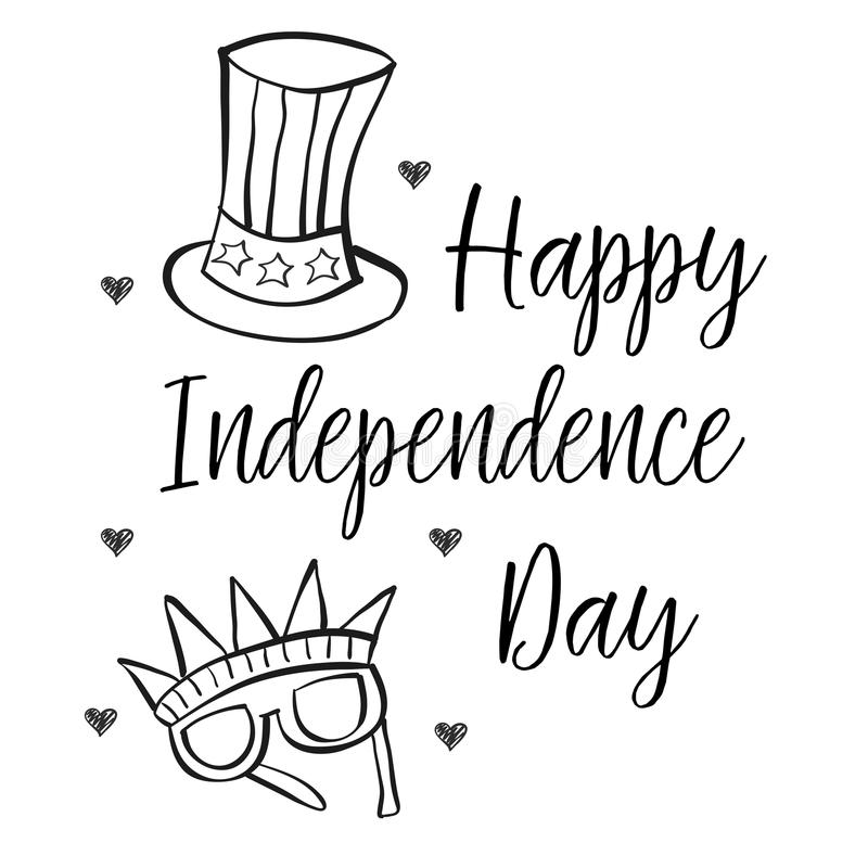 Independence day collection style hand draw. Vector illustration