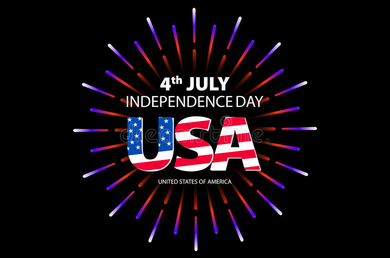 Independence day concept. 4th July independence day with fireworks background. vector. Art stock illustration