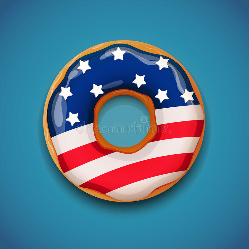 Independence day - Donut with flag of USA royalty free illustration