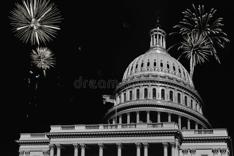 Independence Day fireworks celebrations over U.S. Capitol in Washington DC stock photography