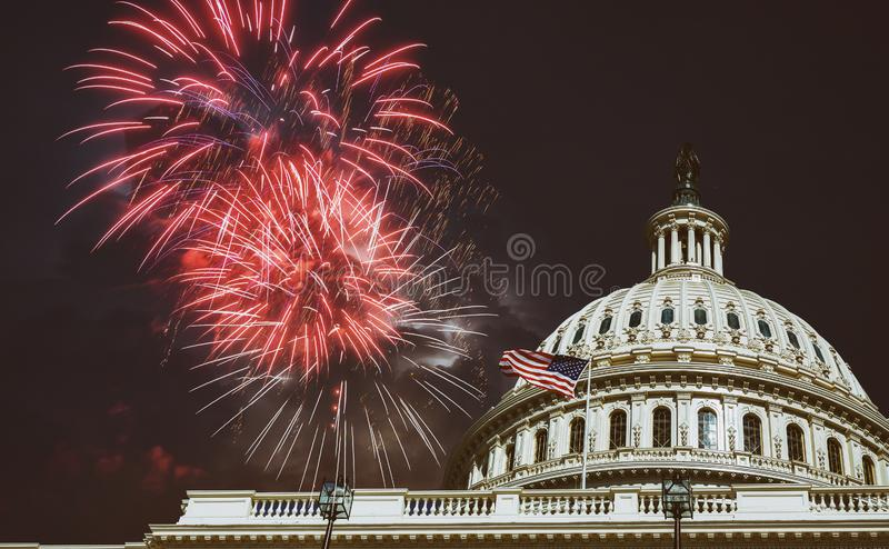 Independence Day Fireworks over Capitol Building at night Washington, D.C royalty free stock photography