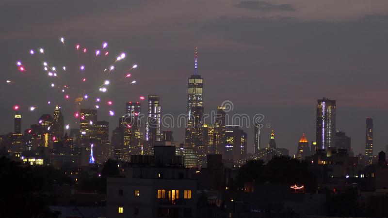 Independence day fireworks over Manhattan, New York city stock photography