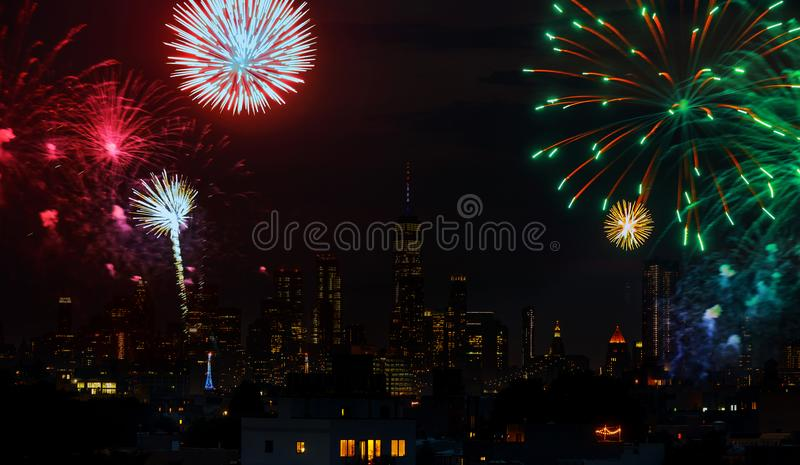 Independence day fireworks over Manhattan, New York city royalty free stock photo