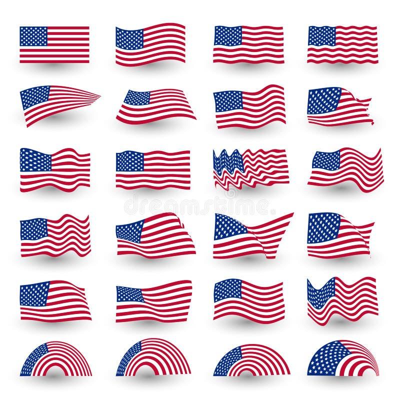 Independence day flag set of united states american symbol wavy shape. july fourth vector logo, illustration. Independence day flag set of united states royalty free illustration