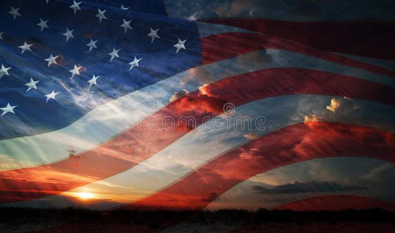 Independence day. flag usa. Flag usa on the background of sunrise royalty free stock images