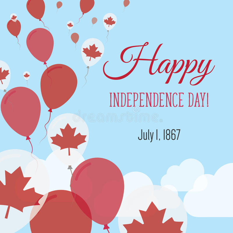 Independence Day Flat Greeting Card. Canada Independence Day. Canadian Flag Balloons Patriotic Poster. Happy National Day Vector Illustration stock illustration