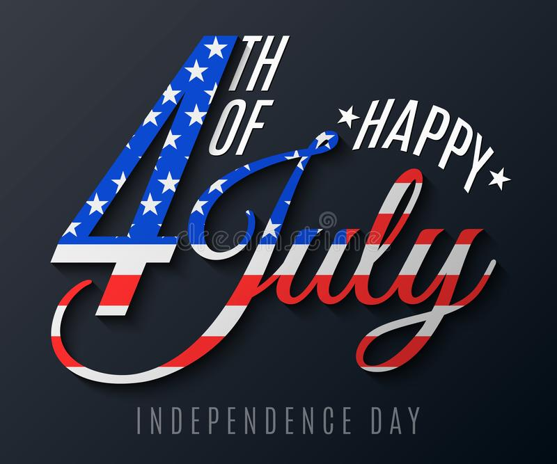Independence Day. Greeting card for 4th of July. Festive text banner on a black background. Flag of United States of America. vector illustration