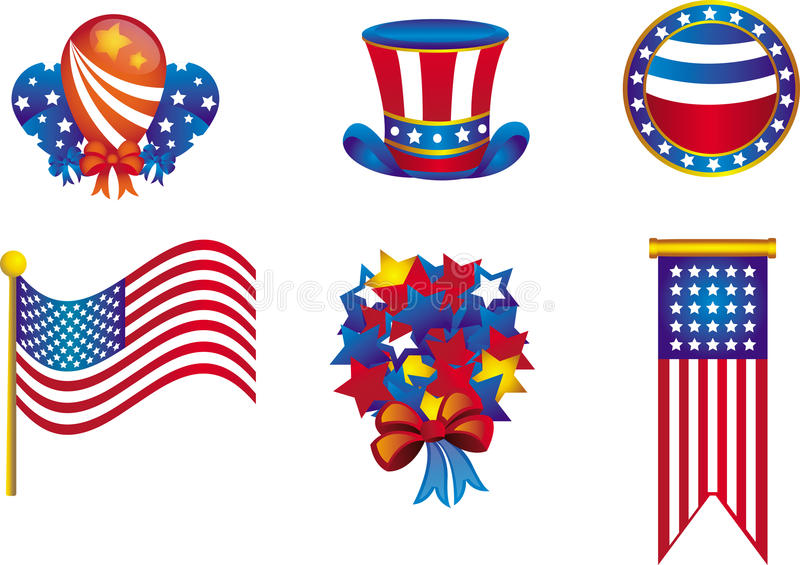 Independence Day Icons stock illustration