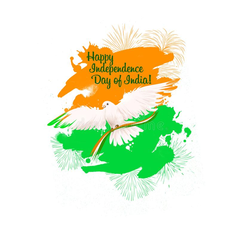 Independence day of India digital art illustration. National indian holiday greeting card, poster, brochure, leaflet, cover,. Layout template. National colors stock illustration