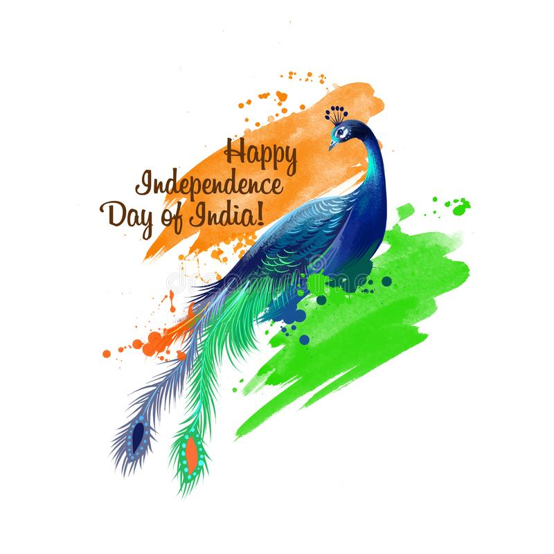 Independence day of India digital art illustration. National indian holiday greeting card, poster, brochure, leaflet, cover,. Layout template. National colors vector illustration
