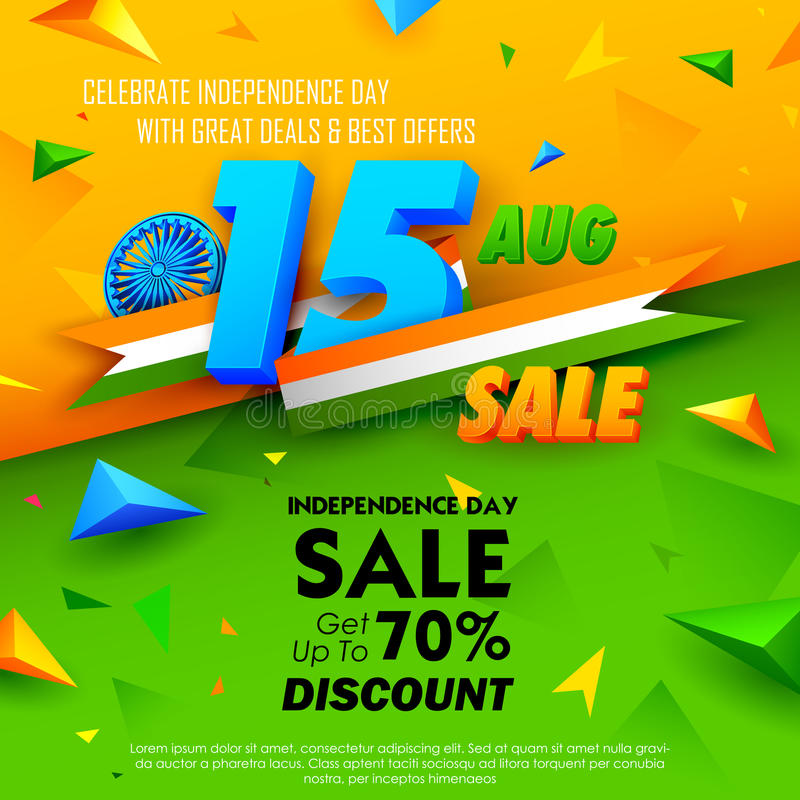 Independence Day of India sale banner with Indian flag tricolor royalty free illustration