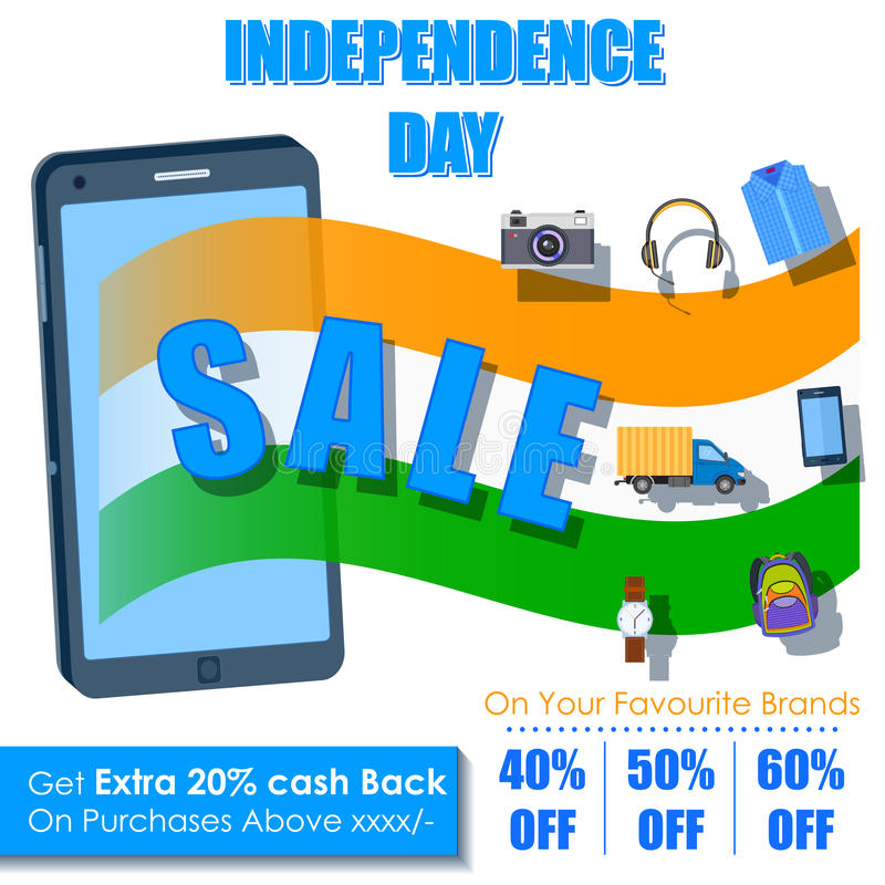 Independence Day of India sale offer in mobile application stock illustration