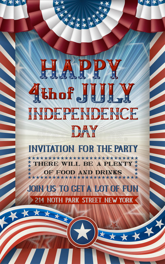 Free Independence Day Invitation Royalty Free Stock Photos - 55496308