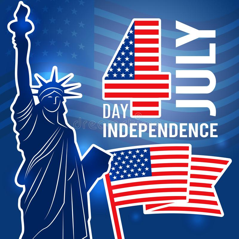 Independence day 4 july poster. Design template with Statue of Freedom USA placard with place for your text vector illustration