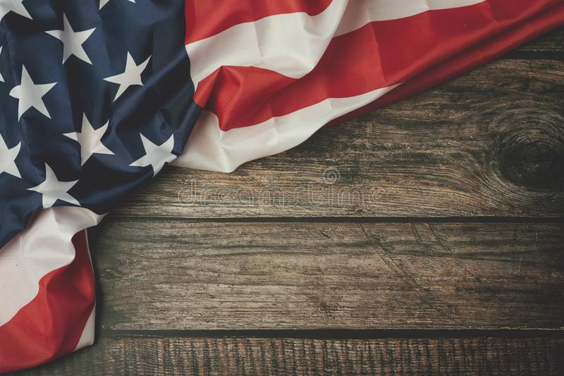 Independence day July 4th,American flag. On boards of wood stock image
