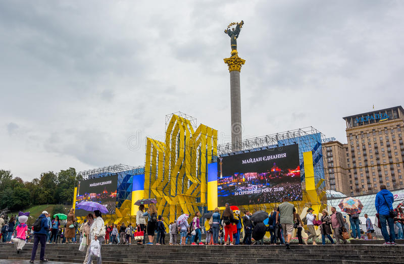 Independence Day in Khreshchatyk Street in Kyiv, Ukraine. Editorial. 08.24.2017 stock images