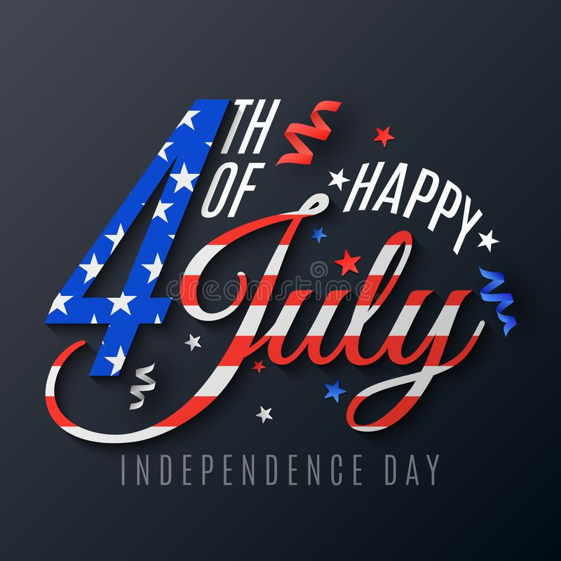 Independence Day. lettering for 4th of July. Festive text banner on a dark background. Scattered serpentine and confetti. Flag vector illustration