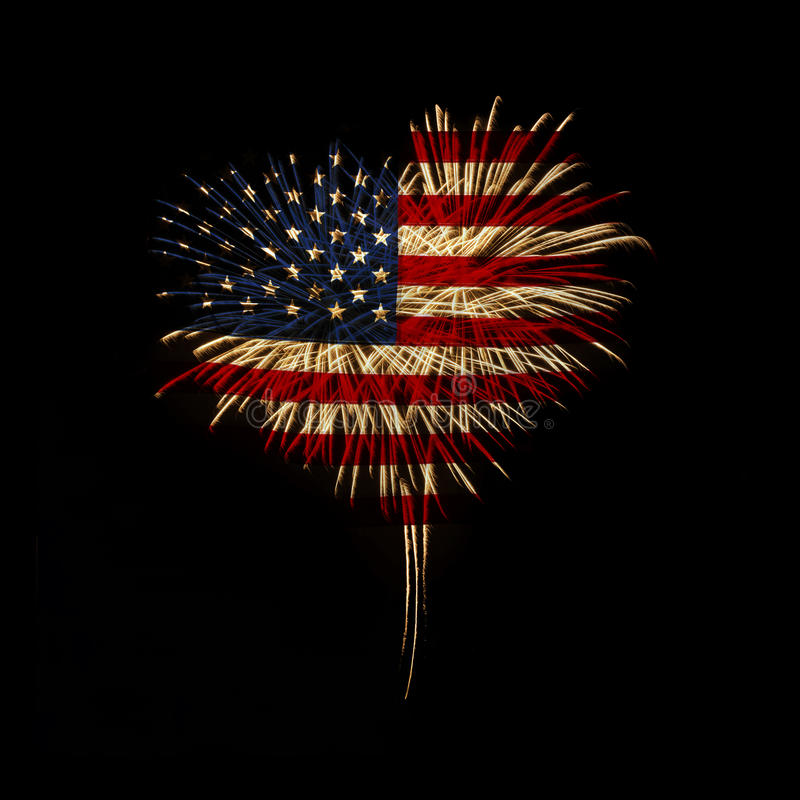 Free Independence Day. My Heart With Love To Usa. Royalty Free Stock Photo - 46303135