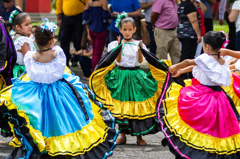 Independence day Parade, Costa Rica. Tilaran, Costa Rica - September 15 : Young children celebrating independence day in Costa Rica with traditional clothing and stock image