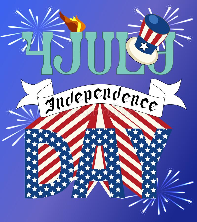 Independence Day. Postcard to Independence Day, vector, postcard, card 4 July, forth July, independence vector illustration