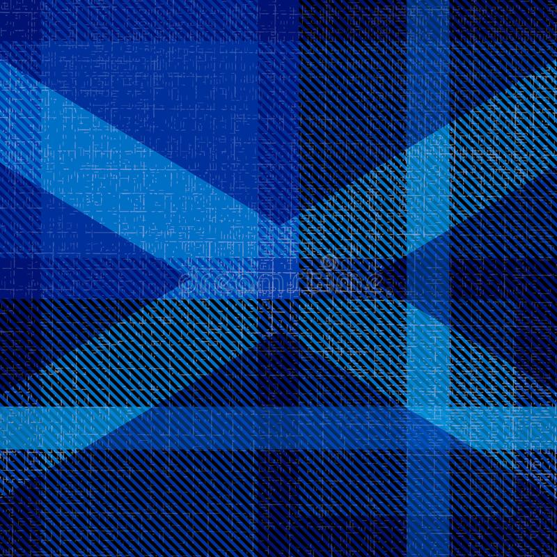 Independence Day of Scotland. 24 June. Scottish blue tartan. Silhouette of the Scottish flag - white cross stock illustration