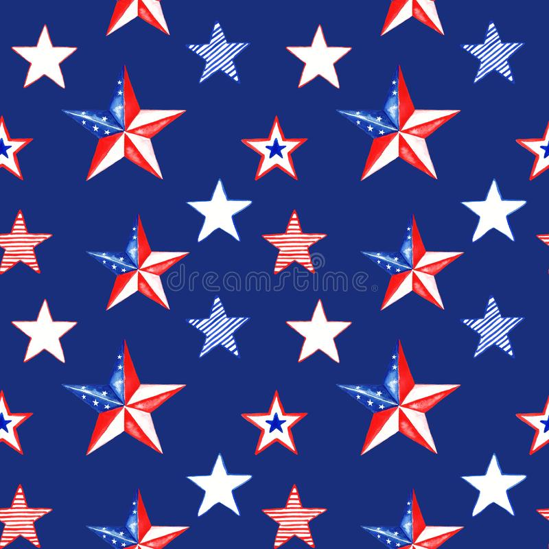 Independence day seamless pattern. Watercolor memorial day background with hand painted red, white and blue striped stars stock illustration