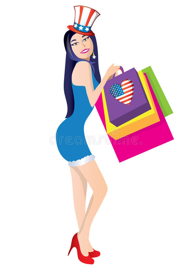 Independence day shopping woman royalty free illustration