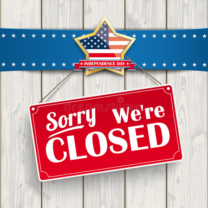 Independence Day Sign Closed Wood Golden Star royalty free illustration