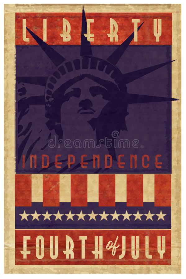 Independence Day Stamp Logo grunge. Independence Day Stamp Logo with Lady Liberty Statue fourth 4th of July Holiday art poster flyer stock image