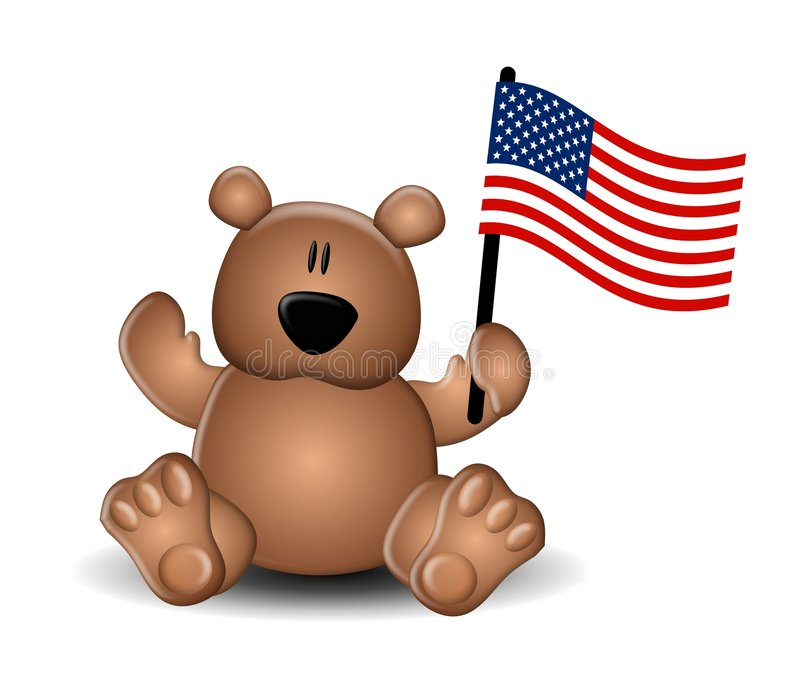 Independence Day Teddy Bear Flag. An illustration featuring a cute brown teddy bear holding a US Flag vector illustration