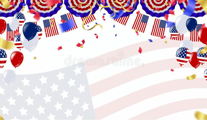 Independence day 4th july. Happy independence day. fourth of jul. Y day of the usa American national flag and balloons colors paint stroke royalty free illustration