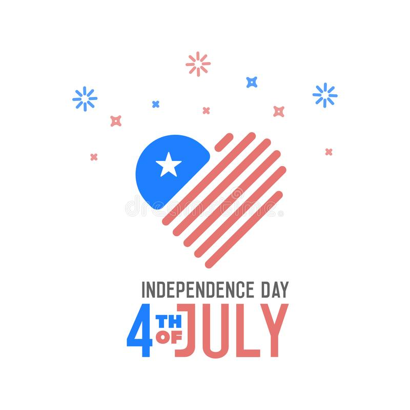 Independence Day, 4th of July. Vector design banner for united states of america holiday. American flag with heart shape logo icon stock illustration