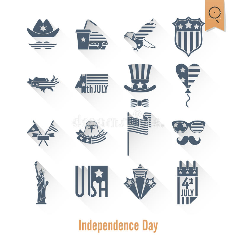 Independence Day of the United States. 4th of July, Independence Day of the United States, Simple Flat Icons. Vector stock illustration