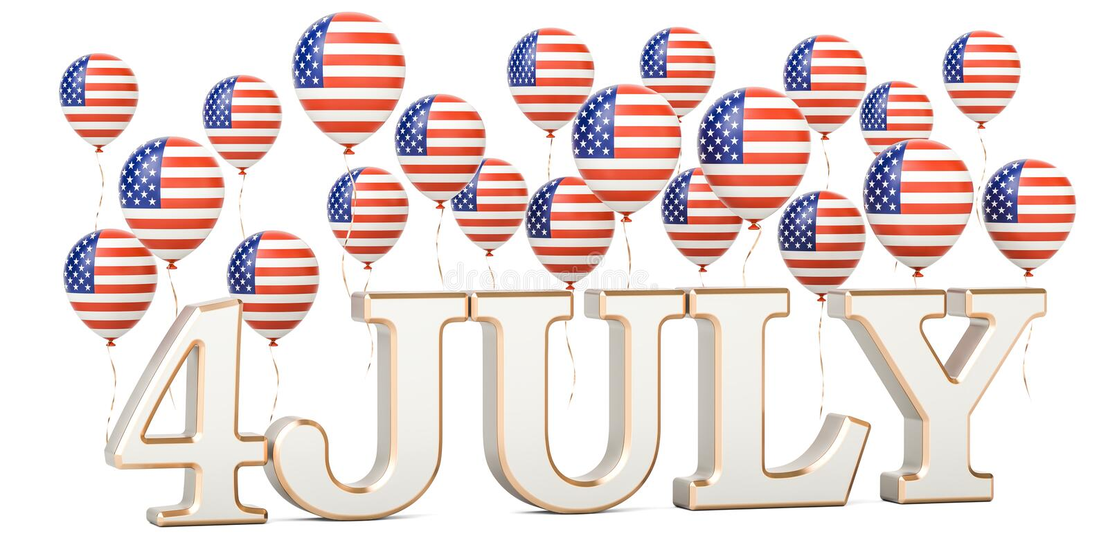 Independence day of US. USA patriotic balloons and inscription 4. July, 3D vector illustration