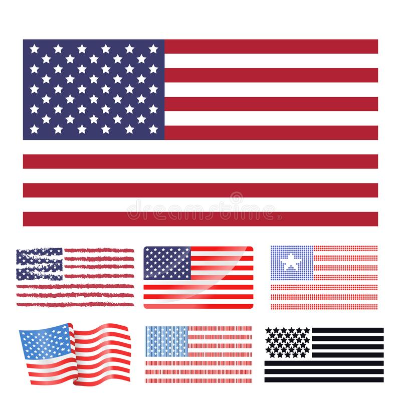 Independence Day Usa Flags United States American Symbol Stock