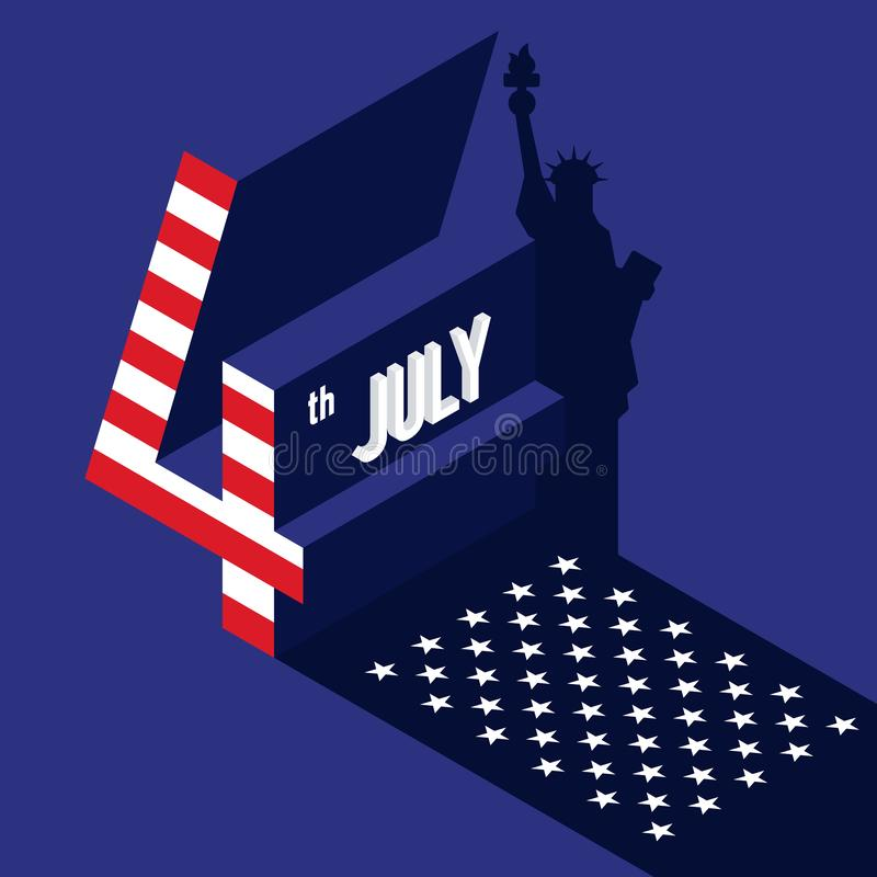 Independence day of USA. Forth of July concept poster background. Graphic design element template can be used for backdrop, brochure, leaflet, flyer royalty free illustration