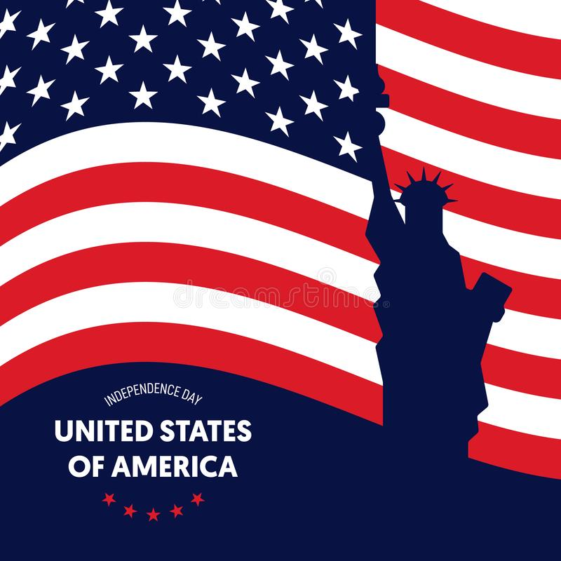 Independence day of USA. Forth of July concept poster background. Graphic design element template can be used for backdrop, brochure, leaflet, flyer stock illustration