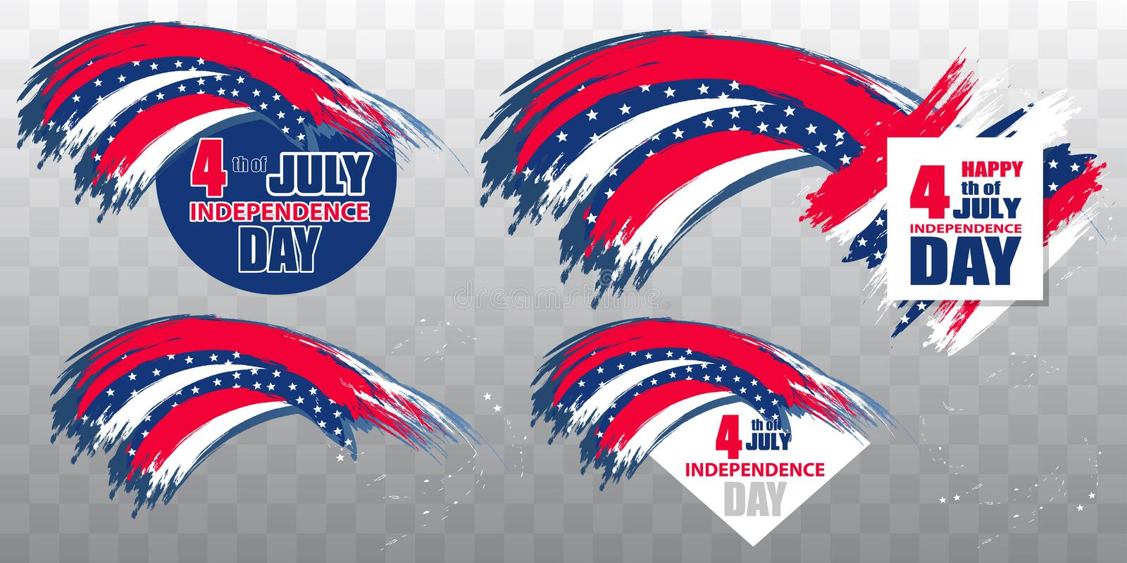 Independence Day USA 4th July. Set colorful modern elements design for a flyer, sale, brochures, presentations, party etc on. Transparent background. Vector royalty free illustration