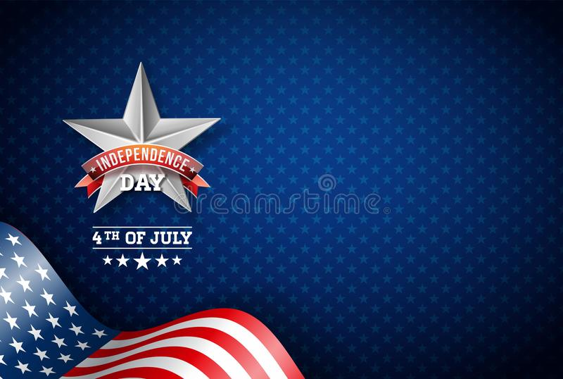 Independence Day of the USA Vector Illustration. Fourth of July Design with Flag on Blue Background for Banner, Greeting stock illustration