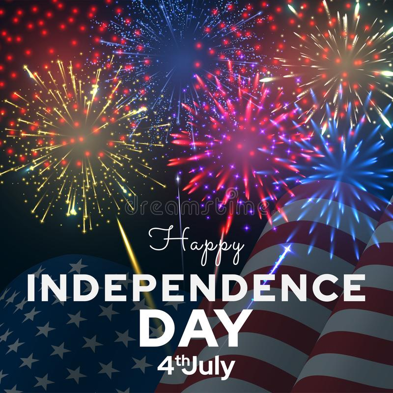Independence day vector banner template. American national holiday royalty free illustration