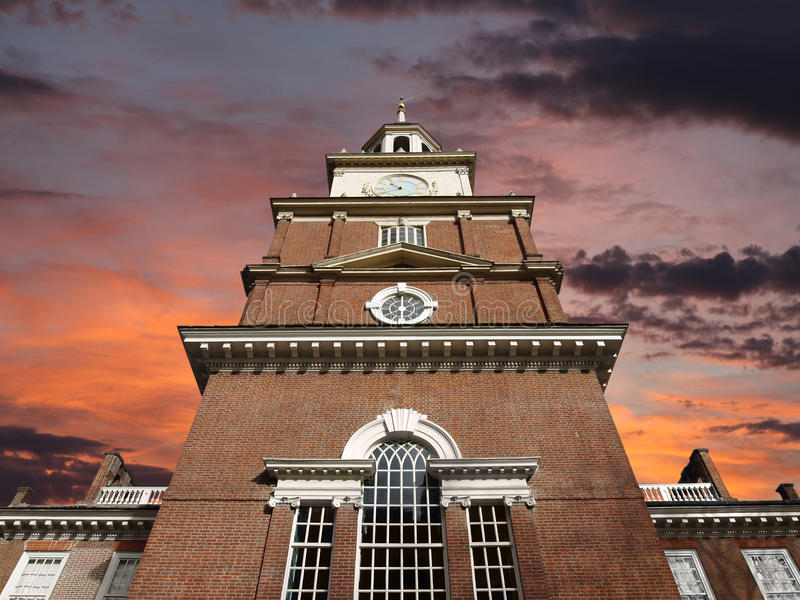 Independence Hall With Sunrise Sky royalty free stock images