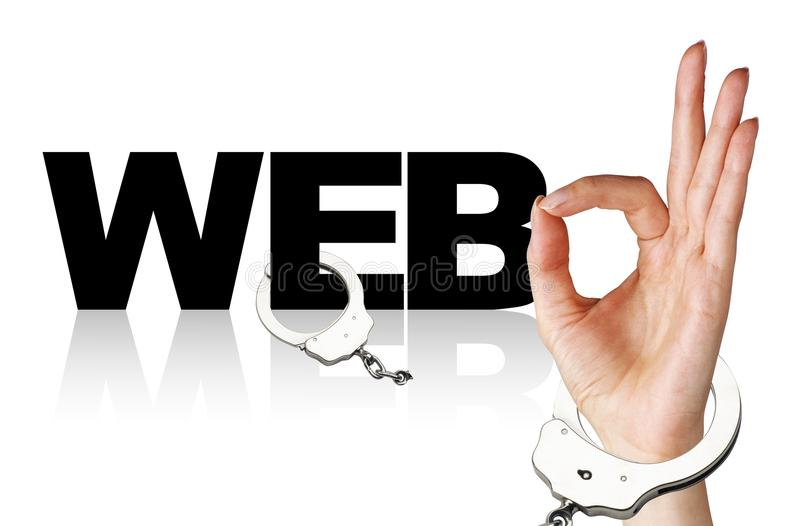 Independence from the Internet. On a white background, the word web, the hand and the broken handcuffs. There is space for additional text royalty free illustration